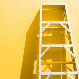 Eating Disorder - Ladder on yellow background